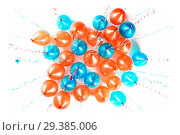 Купить «Bright orange and blue balloons 2019, Christmas, New Year Balloon with glitter on white background. Isolated. Ballon inscriptions», фото № 29385006, снято 29 декабря 2011 г. (c) Сергей Тимофеев / Фотобанк Лори