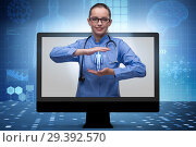 Купить «Telehealth concept with doctor doing remote check-up», фото № 29392570, снято 20 января 2019 г. (c) Elnur / Фотобанк Лори