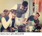 Купить «Offended man during quarrel with friends», фото № 29393878, снято 23 февраля 2018 г. (c) Яков Филимонов / Фотобанк Лори