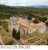 Купить «Aerial view of Castle of Abbey Sainte-Marie d'Orbieu in Lagrasse», фото № 29394242, снято 6 октября 2018 г. (c) Яков Филимонов / Фотобанк Лори