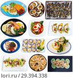 Купить «Seafood meals isolated on white», фото № 29394338, снято 16 декабря 2018 г. (c) Яков Филимонов / Фотобанк Лори