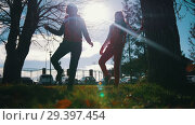 Купить «Two young woman in sport costumes are warming up in park», видеоролик № 29397454, снято 23 июля 2019 г. (c) Константин Шишкин / Фотобанк Лори