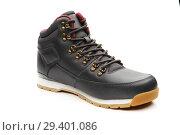 Купить «Close up view of a modern black man boot isolated», фото № 29401086, снято 9 ноября 2018 г. (c) Restyler Viacheslav / Фотобанк Лори