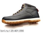 Купить «Close up view of a modern black man boot isolated», фото № 29401090, снято 9 ноября 2018 г. (c) Restyler Viacheslav / Фотобанк Лори