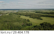 Купить «Panoramic view of gulf meadows in the floodplain of the Oka River, Russia», видеоролик № 29404178, снято 28 июня 2018 г. (c) Яков Филимонов / Фотобанк Лори