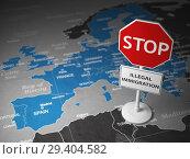 Купить «Stop illegal immigration concept. Sign stop on the map of Europe.», фото № 29404582, снято 27 марта 2019 г. (c) Maksym Yemelyanov / Фотобанк Лори