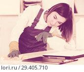 Купить «Female cleaner at work», фото № 29405710, снято 20 февраля 2019 г. (c) Яков Филимонов / Фотобанк Лори