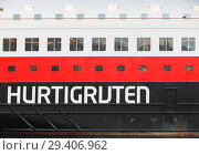 Купить «Hurtigruten, label on hull of passenger ferry», фото № 29406962, снято 14 декабря 2017 г. (c) EugeneSergeev / Фотобанк Лори