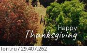 Купить «Digitally generated video of happy thanksgiving 4k», видеоролик № 29407262, снято 21 ноября 2018 г. (c) Wavebreak Media / Фотобанк Лори