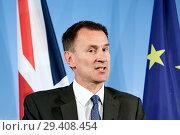 Купить «Berlin, Germany - British Foreign Minister Jeremy Hunt.», фото № 29408454, снято 23 июля 2018 г. (c) Caro Photoagency / Фотобанк Лори