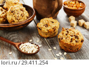 Купить «Diet oat muffins with raisins», фото № 29411254, снято 3 апреля 2018 г. (c) Надежда Мишкова / Фотобанк Лори