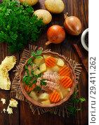 Купить «Рыбный суп с овощами», фото № 29411262, снято 1 октября 2018 г. (c) Надежда Мишкова / Фотобанк Лори