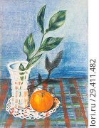 Купить «Crystal vase with a branch of citrus tree. Orange is on the table.», иллюстрация № 29411482 (c) Олег Хархан / Фотобанк Лори