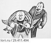 Купить «Полицейский и мужик с украденными гусями», иллюстрация № 29411494 (c) Олег Хархан / Фотобанк Лори