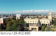 Купить «Gori city in Georgia Stalin's homeland 4K drone flight», видеоролик № 29412890, снято 6 ноября 2018 г. (c) Aleksejs Bergmanis / Фотобанк Лори