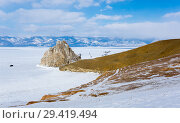 Купить «Cape Burkhan (Shaman Rock) on Olkhon Island at Baikal Lake», фото № 29419494, снято 2 марта 2017 г. (c) Юлия Белоусова / Фотобанк Лори
