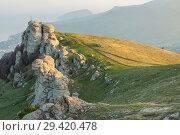 Купить «Rock formations of the Demerdji mountain, Crimea, Russia. Valley of Ghosts, landmark of Crimea», фото № 29420478, снято 22 января 2019 г. (c) Владимир Пойлов / Фотобанк Лори