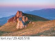 Купить «Rock formations of the Demerdji mountain, Crimea, Russia. Valley of Ghosts, landmark of Crimea», фото № 29420518, снято 8 июля 2020 г. (c) Владимир Пойлов / Фотобанк Лори