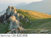 Купить «Rock formations of the Demerdji mountain, Crimea, Russia. Valley of Ghosts, landmark of Crimea», фото № 29420958, снято 22 января 2019 г. (c) Владимир Пойлов / Фотобанк Лори