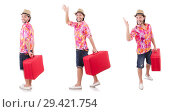 Купить «Tourist with suitcase isolated on white», фото № 29421754, снято 22 ноября 2013 г. (c) Elnur / Фотобанк Лори