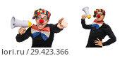 Купить «Clown with loudspeaker isolated on white», фото № 29423366, снято 22 января 2015 г. (c) Elnur / Фотобанк Лори