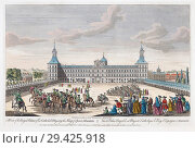 Купить «A view of the royal palace of his Catholic Majesty the King of Spain, Madrid. Hand coloured engraving dated 1752.», фото № 29425918, снято 11 февраля 2015 г. (c) age Fotostock / Фотобанк Лори