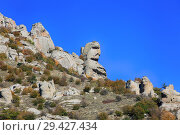 Купить «Mountains Demerdzhi in Crimea. Catherine rock in the valley of ghosts», фото № 29427434, снято 12 октября 2018 г. (c) Яна Королёва / Фотобанк Лори