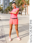 Купить «Girl training outdoors», фото № 29427910, снято 26 июня 2018 г. (c) Яков Филимонов / Фотобанк Лори