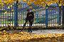 Купить «Уборка опавшей листвы с помощью воздуходувки. Дюссельдорфский парк. Район Марьино. Город Москва», эксклюзивное фото № 29428322, снято 16 октября 2018 г. (c) lana1501 / Фотобанк Лори