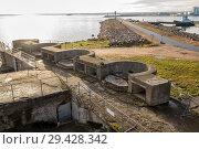 Купить «Concrete defenses for four guns during World War II, Fort Constantine, Kronstadt, Russia», фото № 29428342, снято 4 ноября 2018 г. (c) Юлия Бабкина / Фотобанк Лори
