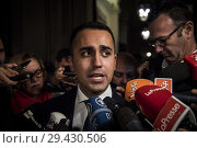 Купить «Italian Deputy Prime Minister and Minister of Economic Development Luigi Di Maio releases statements to the press after the Cabinet in Rome, ITALY-13-11-2018.», фото № 29430506, снято 13 ноября 2018 г. (c) age Fotostock / Фотобанк Лори