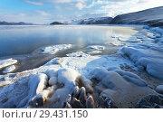 Купить «Lake Baikal in December. Thin ice in the bays and ice-covered shore in sunny frosty day. Change of seasons», фото № 29431150, снято 3 декабря 2011 г. (c) Виктория Катьянова / Фотобанк Лори