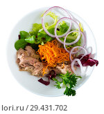 Купить «Top view of salad with carrot, canned tuna, onion», фото № 29431702, снято 23 апреля 2019 г. (c) Яков Филимонов / Фотобанк Лори