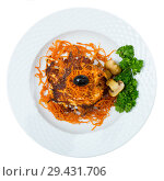Купить «Close up of tasty fried carrot pancakes with mushrooms and greens served», фото № 29431706, снято 21 ноября 2018 г. (c) Яков Филимонов / Фотобанк Лори