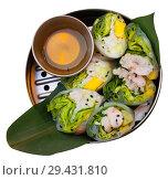 Купить «Delicious ceviche rolls with white fish and rice paper in vietnamese style», фото № 29431810, снято 16 декабря 2018 г. (c) Яков Филимонов / Фотобанк Лори