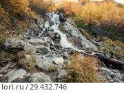 Купить «View of Chuchkhursky waterfall at autumn», фото № 29432746, снято 13 октября 2017 г. (c) Донцов Евгений Викторович / Фотобанк Лори