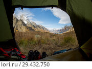 Купить «Ine peak and Dzhuguturluchat mountain view from hiking tent», фото № 29432750, снято 14 октября 2017 г. (c) Донцов Евгений Викторович / Фотобанк Лори