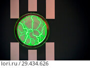 Купить «Abstract bright horizontal graphic black background with vertical stripes and a circle glowing in the form of a magical plasma of lightning», фото № 29434626, снято 8 ноября 2018 г. (c) Светлана Евграфова / Фотобанк Лори
