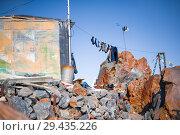 Купить «socks and clothes of climbers drying on a rope», фото № 29435226, снято 6 июля 2015 г. (c) katalinks / Фотобанк Лори