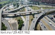 Купить «Aerial view of highway grade separation in Barcelona, Spain», видеоролик № 29437162, снято 12 июня 2018 г. (c) Яков Филимонов / Фотобанк Лори
