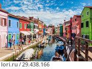Купить «The urban landscape on the island of Burano with bright colorful buildings, Venice, Italy», фото № 29438166, снято 17 апреля 2017 г. (c) Наталья Волкова / Фотобанк Лори