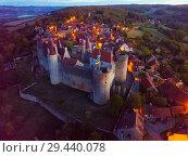 Купить «Night aerial view of Chateau de Chateauneuf, France», фото № 29440078, снято 12 октября 2018 г. (c) Яков Филимонов / Фотобанк Лори