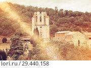 Bell tower of abbey of Saint Mary, Lagrasse (2018 год). Стоковое фото, фотограф Яков Филимонов / Фотобанк Лори