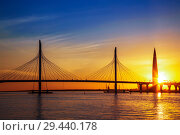 Купить «Cable-stayed bridge of Western high-speed diameter through Peter's fairway and the tower of Lakhta center, at sunset, Saint-Petersburg, Russia», фото № 29440178, снято 28 мая 2018 г. (c) Наталья Волкова / Фотобанк Лори