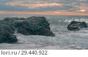 Купить «Close-up - Restless Waves Splashing On A Rocky Island», видеоролик № 29440922, снято 15 декабря 2017 г. (c) Pavel Biryukov / Фотобанк Лори