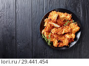 Купить «overhead view of fried chicken breast chops», фото № 29441454, снято 15 ноября 2018 г. (c) Oksana Zh / Фотобанк Лори