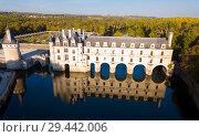Купить «Aerial view of medieval Chateau de Chenonceau», фото № 29442006, снято 8 октября 2018 г. (c) Яков Филимонов / Фотобанк Лори