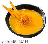 Купить «Tasty boiled vegetarian carrot cream soup served at plate on table», фото № 29442126, снято 17 июня 2019 г. (c) Яков Филимонов / Фотобанк Лори