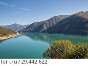 Купить «Zhinvali reservoir on Aragvi River, Georgia. Scenic landscape in autumn sunny day», фото № 29442622, снято 24 сентября 2018 г. (c) Юлия Бабкина / Фотобанк Лори