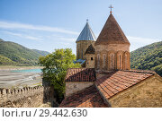 Купить «Domes of churches of Ananuri fortress on background of Aragvi River and Zhinvali reservoir. Georgia», фото № 29442630, снято 24 сентября 2018 г. (c) Юлия Бабкина / Фотобанк Лори
